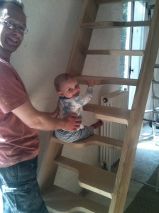 Louis tests the new staircase!