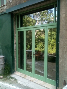 The new bi-fold doors for the workshop