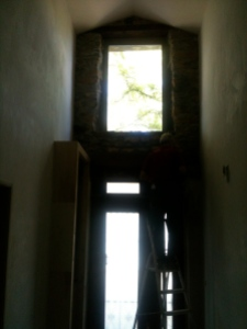 The stone above the door, pointed and made safe