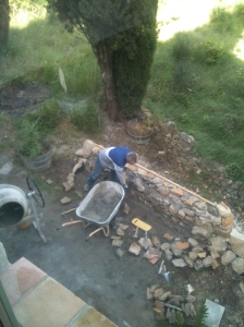 Meanwhile Rob works on the back terrace