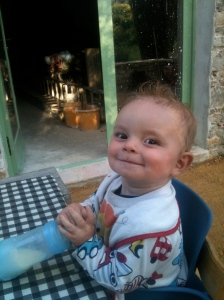 Louis is impressed, supper on the terrace in the evening sunshine
