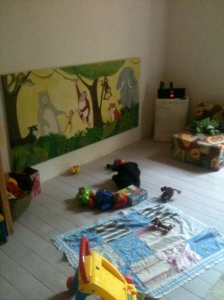 Finally 14 months after his aunty Clare made his mural we get to hang it up!