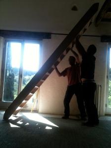 Putting the echelle de meunier in for the mezzanine