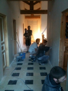 Plastering the hallway and living room wall