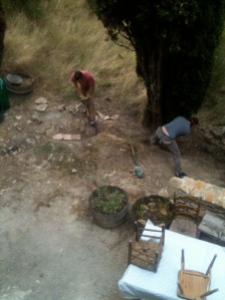 Our stone drain was re-dug, bettered and goes further